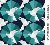 vector seamless pattern with... | Shutterstock .eps vector #736135021