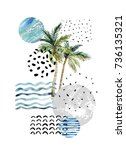 abstract summer background. art ... | Shutterstock . vector #736135321
