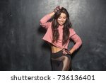 portrait of young beautiful...   Shutterstock . vector #736136401