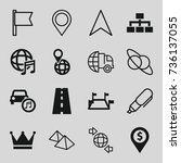 map icons set. set of 16 map... | Shutterstock .eps vector #736137055