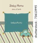baby arrival card with photo... | Shutterstock .eps vector #73613995