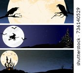 three banners with crows  a... | Shutterstock .eps vector #736140529