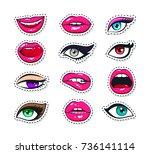 vector stickers kit of female...   Shutterstock .eps vector #736141114