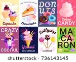 eight vertical trendy sweets... | Shutterstock .eps vector #736143145