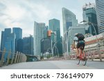 man take exercise by bicycle in ... | Shutterstock . vector #736149079