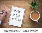 new year 2018 goal plan action... | Shutterstock . vector #736149589