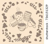 coffee cups. warm autumn... | Shutterstock .eps vector #736151329