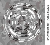 the end grey camouflaged emblem | Shutterstock .eps vector #736156321