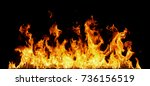 fire flames on black background. | Shutterstock . vector #736156519