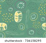 seamless abstract fruit and... | Shutterstock .eps vector #736158295