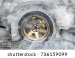 drag racing car burns rubber... | Shutterstock . vector #736159099