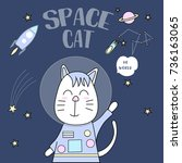space cat typography for t... | Shutterstock .eps vector #736163065