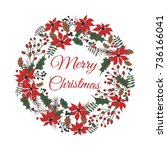 christmas wreath for your design | Shutterstock .eps vector #736166041