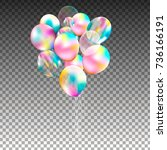 bunch of balloons isolated.... | Shutterstock .eps vector #736166191