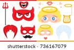 angel and devil. printable... | Shutterstock .eps vector #736167079