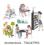 set of people reading books in... | Shutterstock .eps vector #736167901