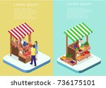 isometric flat 3d isolated... | Shutterstock .eps vector #736175101