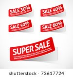 super sale red stickers | Shutterstock .eps vector #73617724