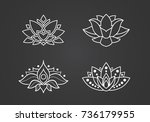 lotus outline icons set.... | Shutterstock .eps vector #736179955
