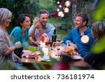 group of friends gathered... | Shutterstock . vector #736181974