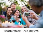 nice summer evening. during a... | Shutterstock . vector #736181995