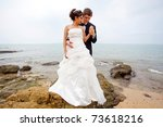 newly married couple on the... | Shutterstock . vector #73618216