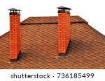roof covered with red tiles... | Shutterstock . vector #736185499