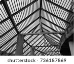 steel structure of a building... | Shutterstock . vector #736187869