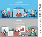 business meeting horizontal... | Shutterstock .eps vector #736192447