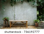 bamboo chairs are placed next...   Shutterstock . vector #736192777