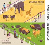 set of two isometric zoo... | Shutterstock .eps vector #736194529