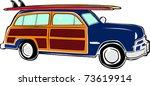 Retro Happy Hippie Vintage Tropical Surfboard Woody Car Vector Illustration