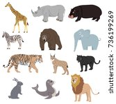 animals  set of animals.... | Shutterstock .eps vector #736199269
