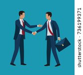 two business men shaking hands... | Shutterstock .eps vector #736199371