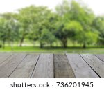 empty top wooden table and... | Shutterstock . vector #736201945