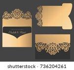 laser cut pocket envelope. tri... | Shutterstock .eps vector #736204261