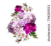bouquet of flowers isolated on... | Shutterstock . vector #736205011