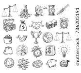big business set. sketch of... | Shutterstock .eps vector #736205191