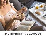 breakfast in bed | Shutterstock . vector #736209805