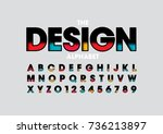 vector of colorful layered font ... | Shutterstock .eps vector #736213897