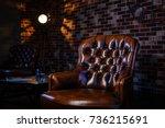 loft interior mock up grey... | Shutterstock . vector #736215691