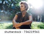 a blonde caucasian female... | Shutterstock . vector #736219561