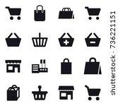 16 vector icon set   cart ... | Shutterstock .eps vector #736221151
