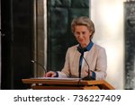 Small photo of MAGDEBURG, GERMANY - October 17, 2017: The Federal Minister of Defense, Dr. Ursula von der Leyen, is speaking at the Magdeburg Cathedral to the winner of the Emperor Otto Prize, Federica Mogherini.
