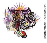 grunge tribal bull skull... | Shutterstock .eps vector #736235044