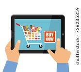 online store of food concept.... | Shutterstock .eps vector #736235359