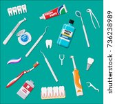 dental cleaning tools. oral... | Shutterstock .eps vector #736238989