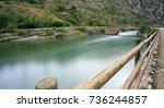river crossing the mountains in ...   Shutterstock . vector #736244857