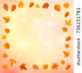 autumn background with leaves.... | Shutterstock .eps vector #736251781