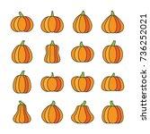 halloween pumpkin thin line... | Shutterstock .eps vector #736252021